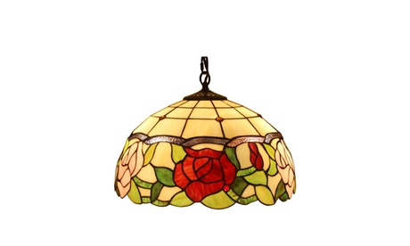 "Tiffany Style AM068HL16 Floral Hanging Lamp 16"" Wide 2 Light e250b133-afce-4e37-862b-ea50493efb3b"