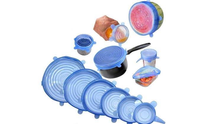 Silicone Stretch Lids 6 Pack Different Size Stretchable Food Covers-BLUE