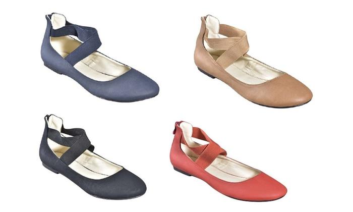 P26 Women's Classic Ballerina Ballet Flats Shoes with Elastic Crossing