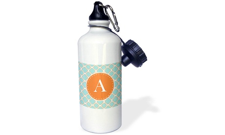 Water Bottle Letter A Monogram Orange and Blue Quatrefoil Pattern photo