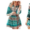Women Casual Printed Dress Sexy V Neck Lace 3/4 Sleeve Ruffled Dress