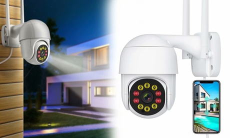 Security Camera 720P HD Wi-Fi Wireless Camera with Floodlights Night Vision