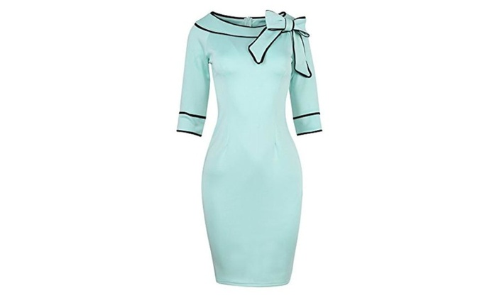 Womens Chic Bow-knot Bodycon Vintage Pencil Dress