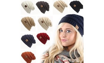 Popular Adult Beanie Women CC Labeling Knitted Hats Crochet Winter Warm Caps