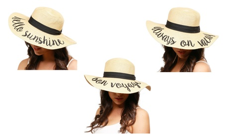 Amtal Women Elegant Wide Brim Embroidered Beach Floppy Summer Hats 01175055-30b1-4c20-850f-d142f14e25a1