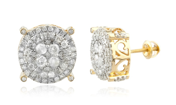 2f62110f3 Men's 10K Gold 1.25Ct Diamond Stud Earrings 12.2mm Round Cluster Studs