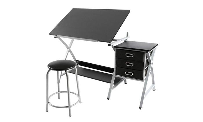 Adjustable Drafting Table Drawing Station Desk Board Storage Drawers ...