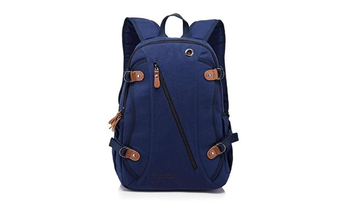 Men's Leather Soft Canvas Durable Preppy Style Computer Backpacks – Coffee / one size