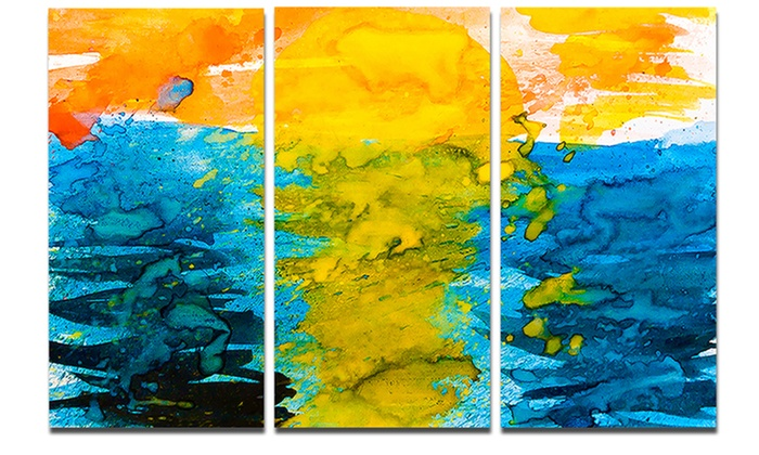 Sea Texture in Yellow Blue Abstract Metal Wall Art 36x28 3 Panels ...