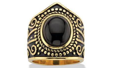 Simulated Black Onyx Antiqued 18k Gold/.925 Ring a70f510b-de50-4a90-9a99-73593721e1ac