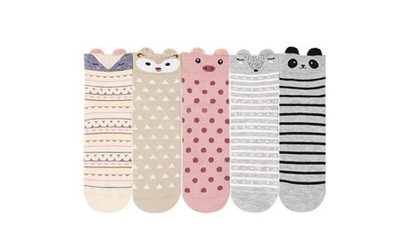 Womens Animal Cartoon Socks Cute Cotton Ankle Crew Socks - 5 Pack e49f2449-2d2d-47ec-a6de-99ffe348da60