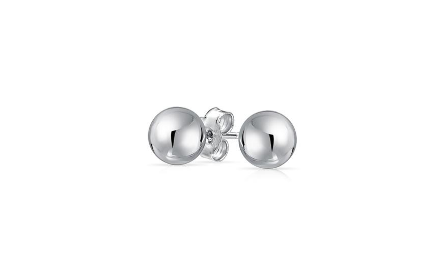 Sterling Silver Red 5mm Ball Girls Stud Earrings