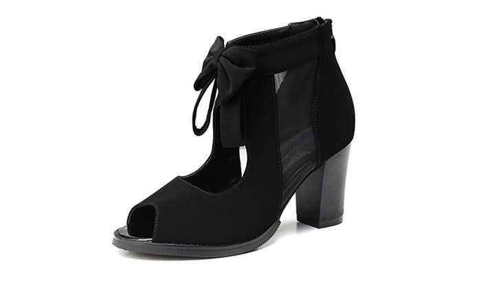 7a34ca83d30d Women Open Toe Boots Cut Out Bows Vintage Chunky Heel Ankle Heels Pump ...