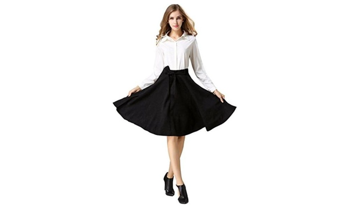 Women's High Waisted A line Street Flared Midi Skirt with Belt