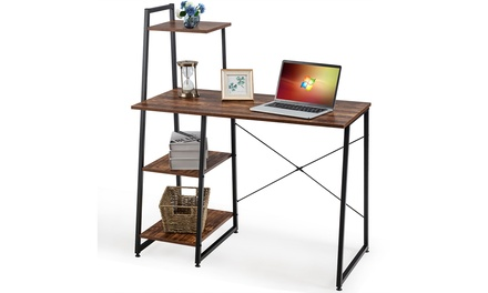 Costway Computer Desk with Shelves Study Writing Desk Workstation with Bookshelf