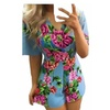 Women's V Neck Floral Print Short Sleeve Sexy Jumpsuit