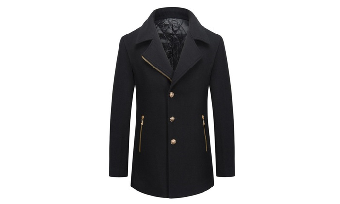 Men's Notch Lapel Single Breasted Trench Jacket Coat