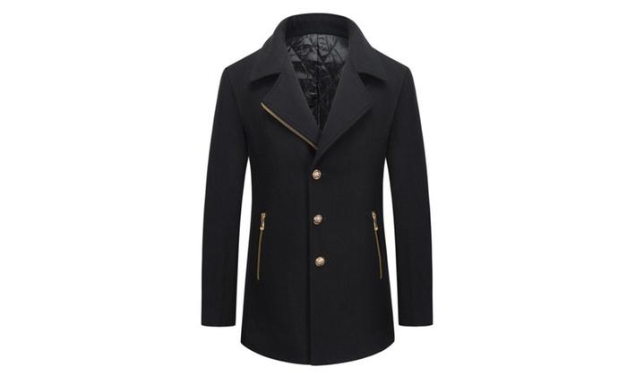 Men's Notch Lapel Single Breasted Trench Jacket Coat