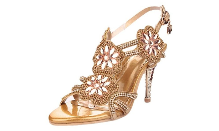 Littleboutique Women's Glitter Strappy Sandal Rosette Dress Sandals Evening High Heels Wedding Heels