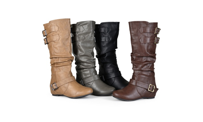 91e3e2792ec7 Journee Collection Womens Buckle Slouch Low-Wedge Boot