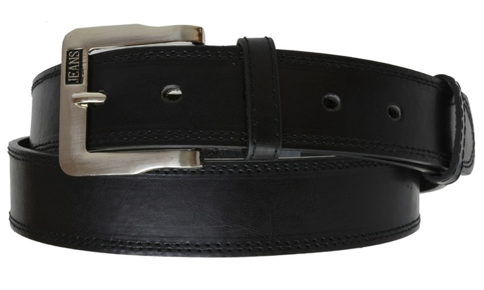 AFONiE Men's Jeans Casual Leather Belt with Silver Buckle