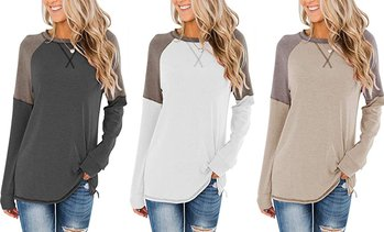 Women's Casual Long Sleeve Tunic Tops Crew Neck Color Block Blouses