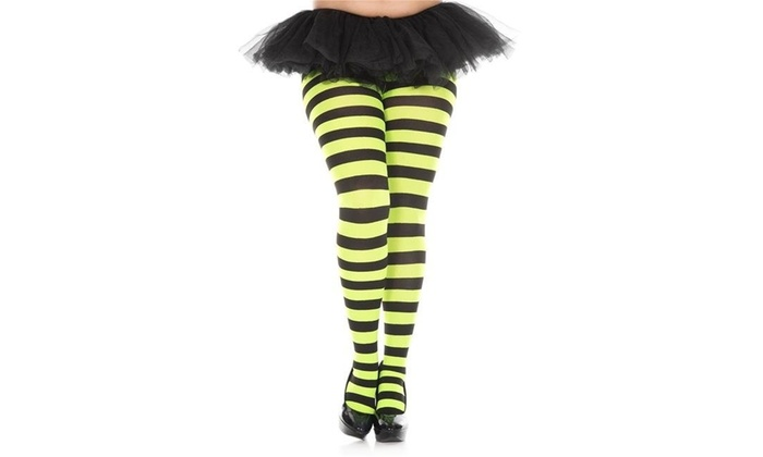 ef2f87c9869 Music Legs 7419Q-BLACK-NGREEN Plus Size Wide Striped Tights - Black   Neon  Green NA One Size Black   Neon Green