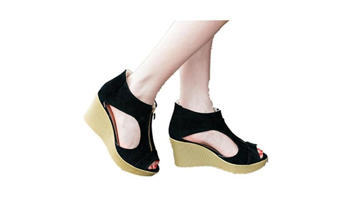 Zipper Sandals Casual Peep Toe Platform Wedges Sandals Shoes