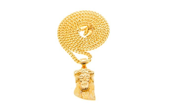 Trendy Gold Color Jesus Christ Head Piece Charm Pendant Necklace ...