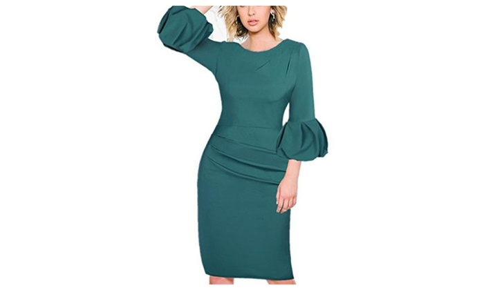 Women's Elegant Cocktail Party Half Sleeve Business Midi Dress
