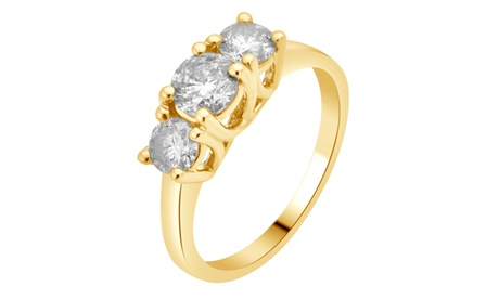 2.00 cttw Round Diamond 3 Stone Ring 14K Solid Gold Jewelry for Women Girls Mom