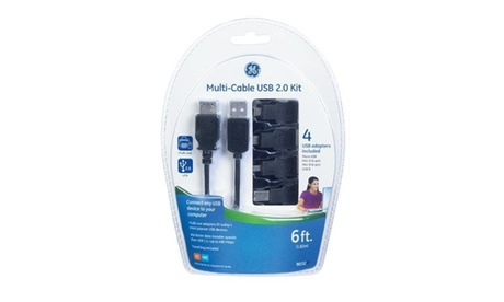 GE 3390127 6 ft. 4 in 1 USB Cable Kit Black photo
