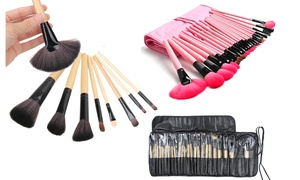Full-Coverage Makeup Brush Kit with Vegan-Leather Case (25-Piece)