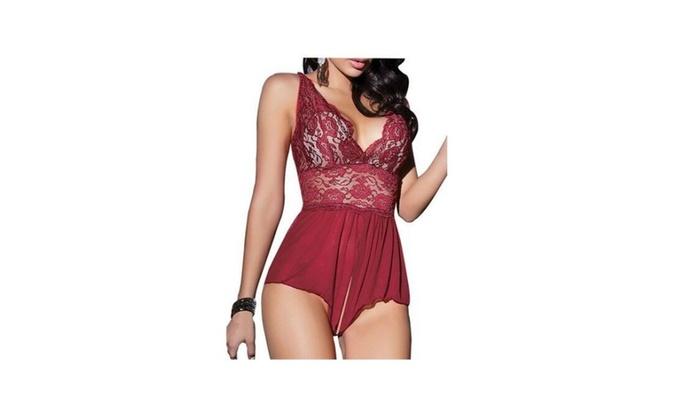 Sexy Lingerie Open Crotch Leotard Teddy Lace  Babydoll Sleepwear