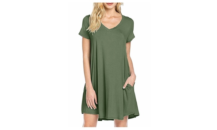 Women's Casual Plain Simple Pocket T-shirt Loose Dress 7-Color