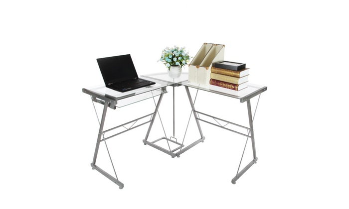 L Shaped Corner Computer Desk Workstation With Pull Out
