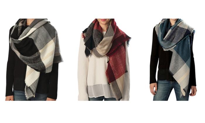 Women Winter Plaid Checkered Design Blanket Fleece Holidays Scarf