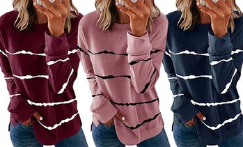 Women Casual Tops Tie-dye Print Pullover Stripe Long Sleeve Sweatshirt
