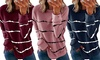 Women Casual Tops Tie-dye Print Pullover Stripe Long Sleeve Tops Tunics