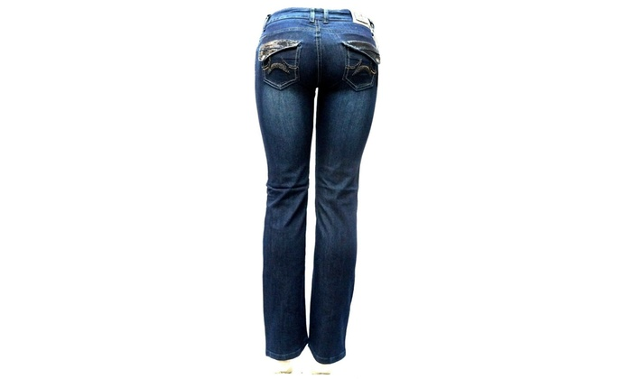 LIA Verona Junior WOMEN/'S BLUE Denim Stretch Bootcut Straight Leg Jeans Pants
