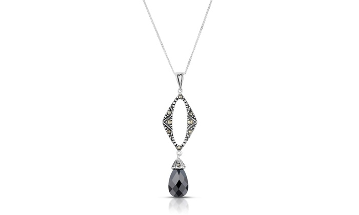 Marcasite and simulated black onyx pendant in sterling silver groupon marcasite and simulated black onyx pendant in sterling silver aloadofball Choice Image