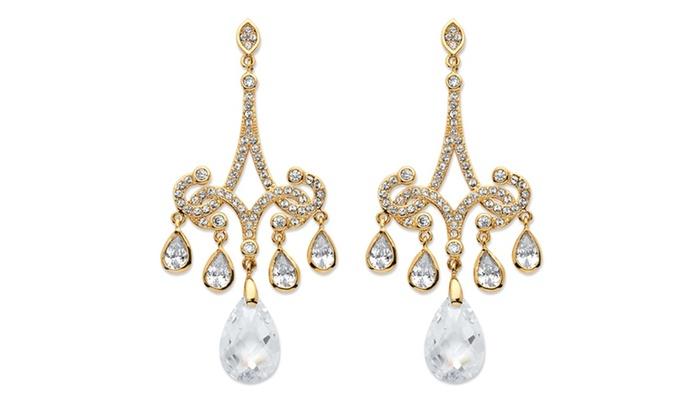 15 Tcw Pear Cut Cubic Zirconia Chandelier Earrings 14k