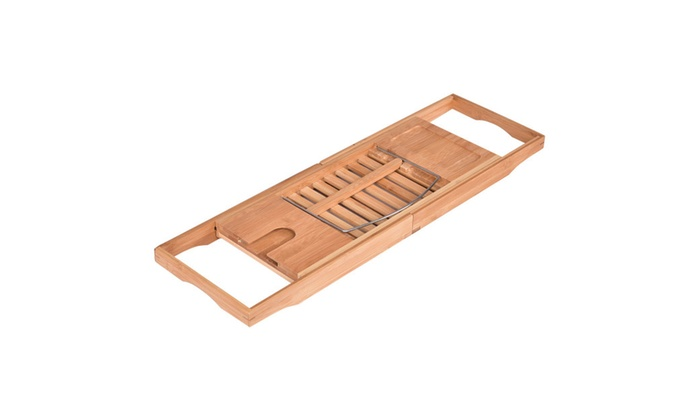 Bathtub Rack Caddy Shower Book Tray Shelf Wine Holder | Groupon