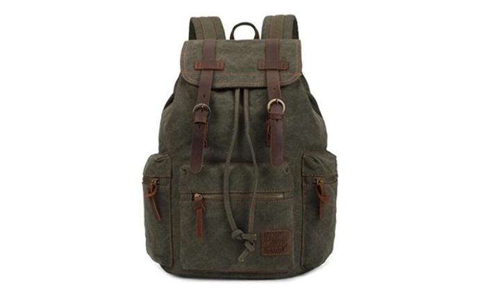 Bagtopia Vintage Men Casual Canvas Leather Backpack Rucksack Satchel Hiking Bag