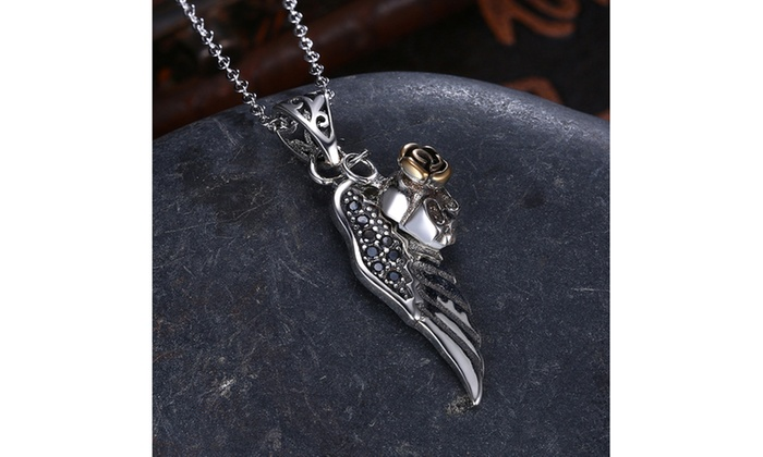 0925 sterling silver black crystal skull wings necklace groupon 0925 sterling silver black crystal skull wings necklace mozeypictures Images