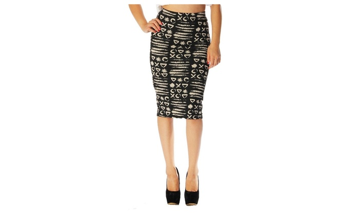 Black Beige Tribal Aztec High Waist Fitted Pencil Skirt U.S.A – Small