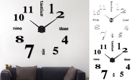 DIY Wall Clock 3D Mirror Surface Sticker Home Decor Art