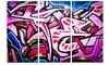 Abstract Graffiti Melbourne Street Art Metal Wall Art 36x28 3 Panels