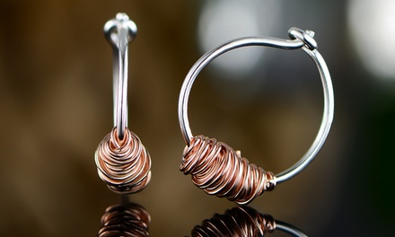 925 Sterling Silver Two Toned Twisted Wire Hoop Earrings