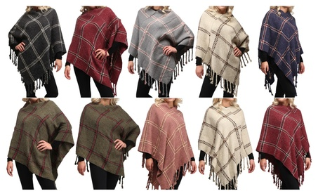 Women's Light Weight Fuzzy Plaid Pullover Poncho Cape with Fringes.